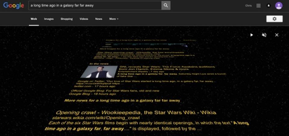 グーグルで「あの言葉」を検索すると、結果が映画「スター・ウォーズ」に
