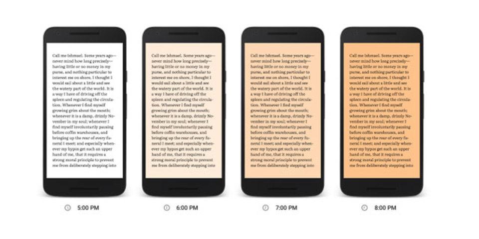 夜間はブルーライトをカット! 目にも睡眠にも優しいグーグルの読書機能