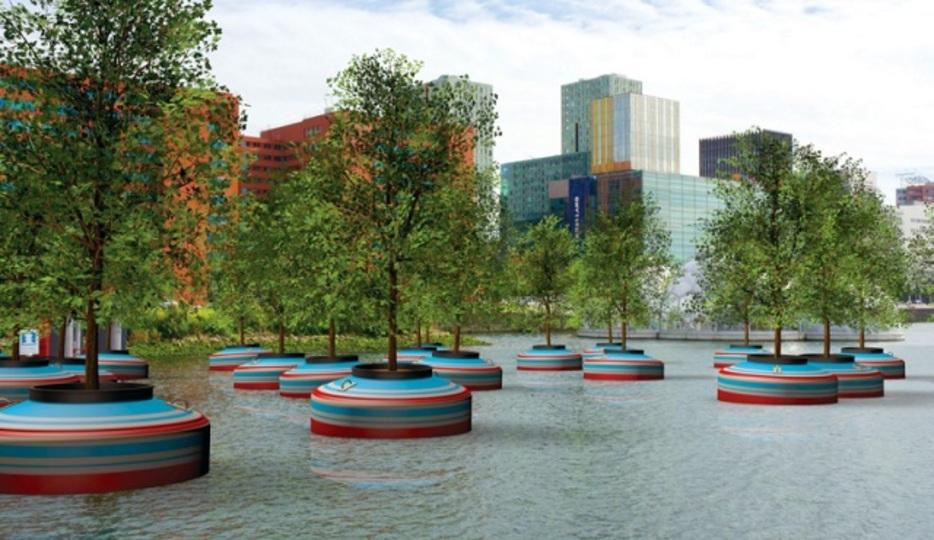 斬新な発想の緑化。森が水上に浮かぶロッテルダムの港