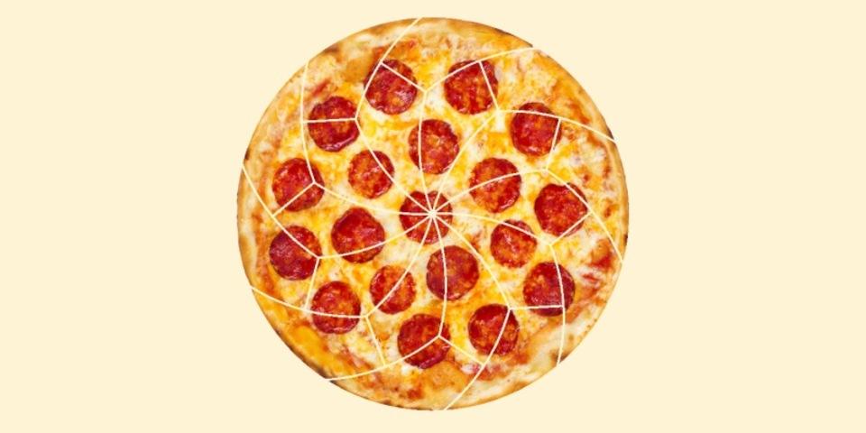 数学者の研究に基づいたピザの均等な切り方(ちょっと変)