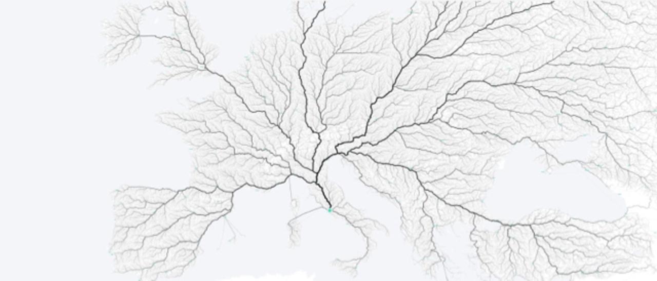 「すべての道はローマに通ず」を視覚化したマップが美しい