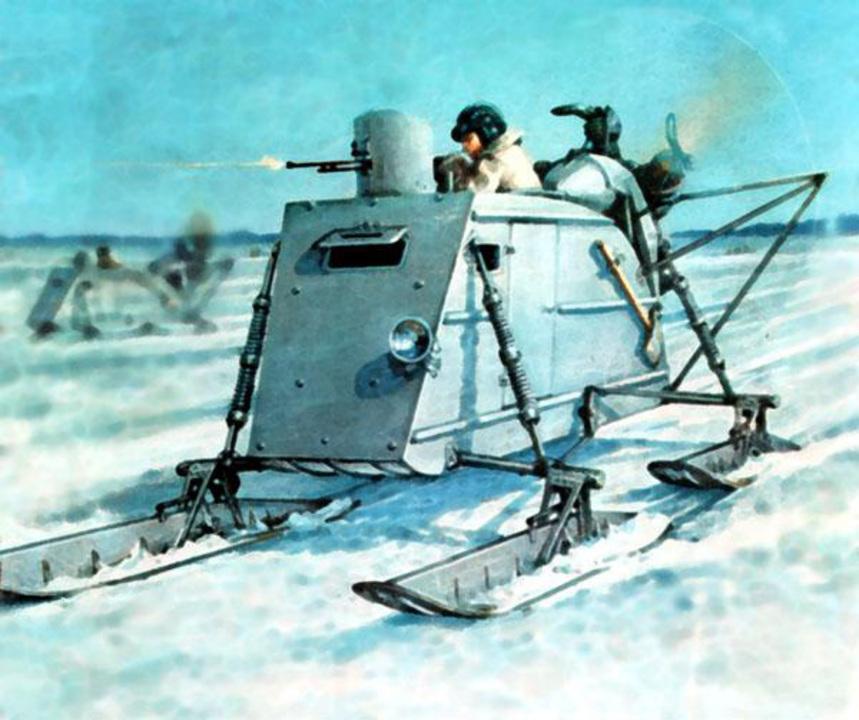 雪を乗り越えマシンガンをぶっ放す! ロシアで発展した武装スノーモービルの華麗なる歴史...