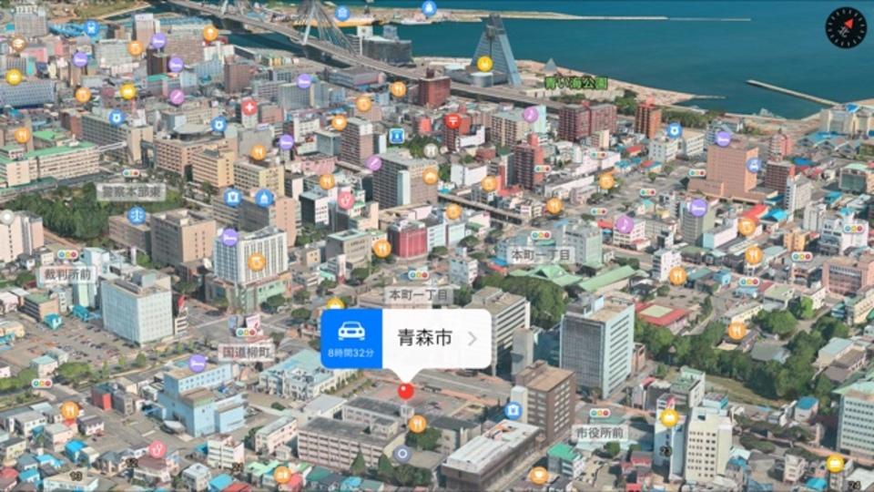 青森市が3D化されました、「マップ」アプリで