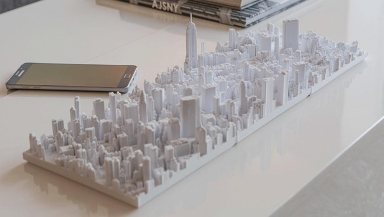 マンハッタンの街並みを、3Dプリンターで忠実に再現した模型