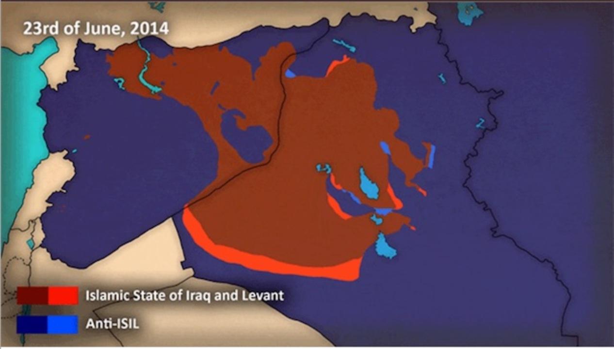イスラム国がここ数年でどのくらい領土を広げたか一目で見ると