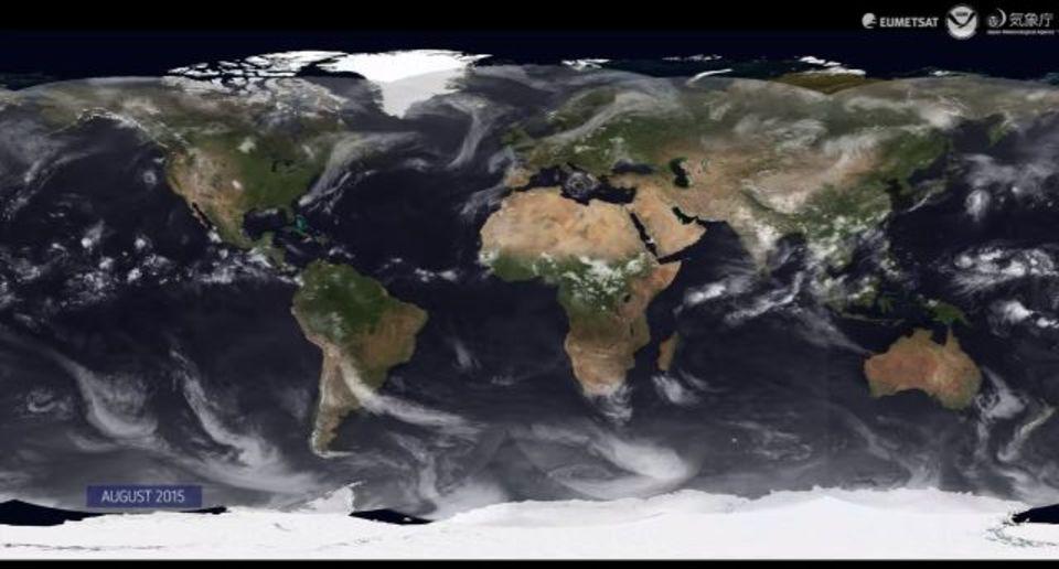 一年間の世界の天気の動きを丸ごと動画で見ちゃおう