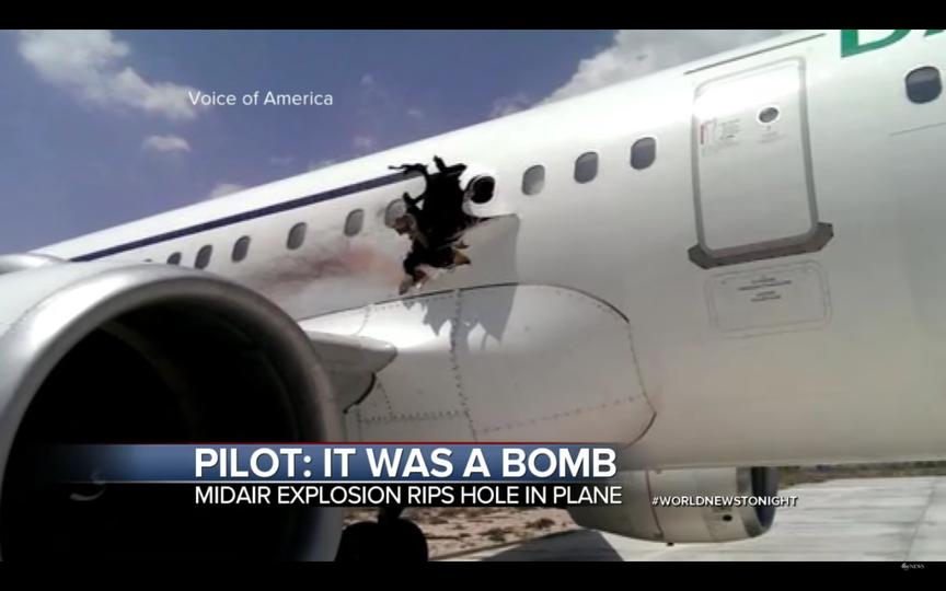 ソマリアの航空機爆発、テロリストがラップトップに爆弾を仕込んでいた