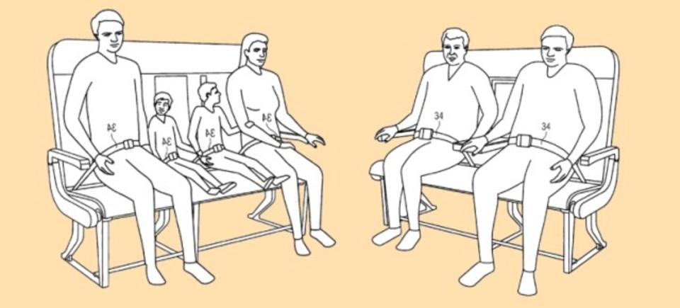 飛行機のシートベルトをどんなサイズの人にも合わせられるように