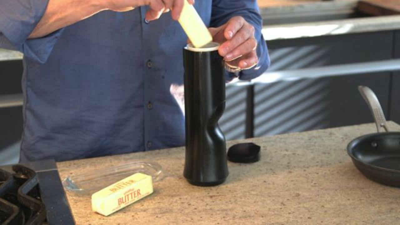 バターを一瞬で温めてスプレーできる器具、Kickstarterで資金募集中