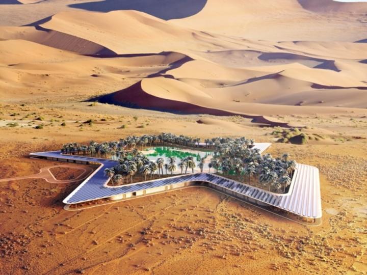 乾いた砂漠に突如現る「水の要塞」、その正体は