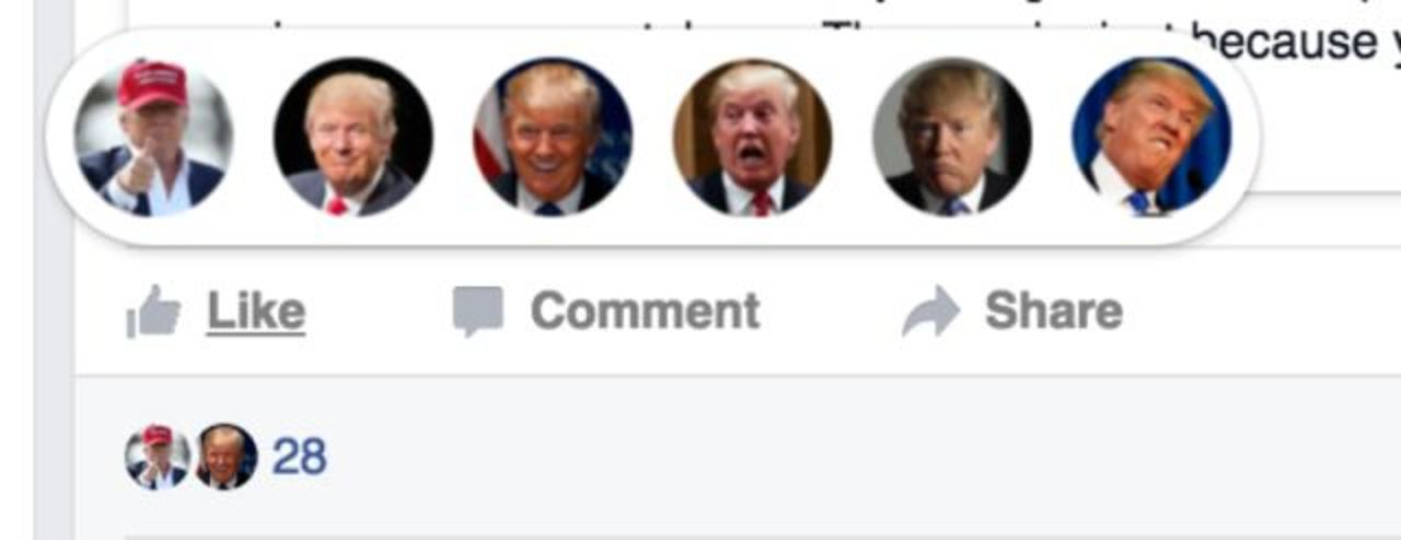 いいね!がドナルド・トランプの顔になるフェイスブック用機能拡張