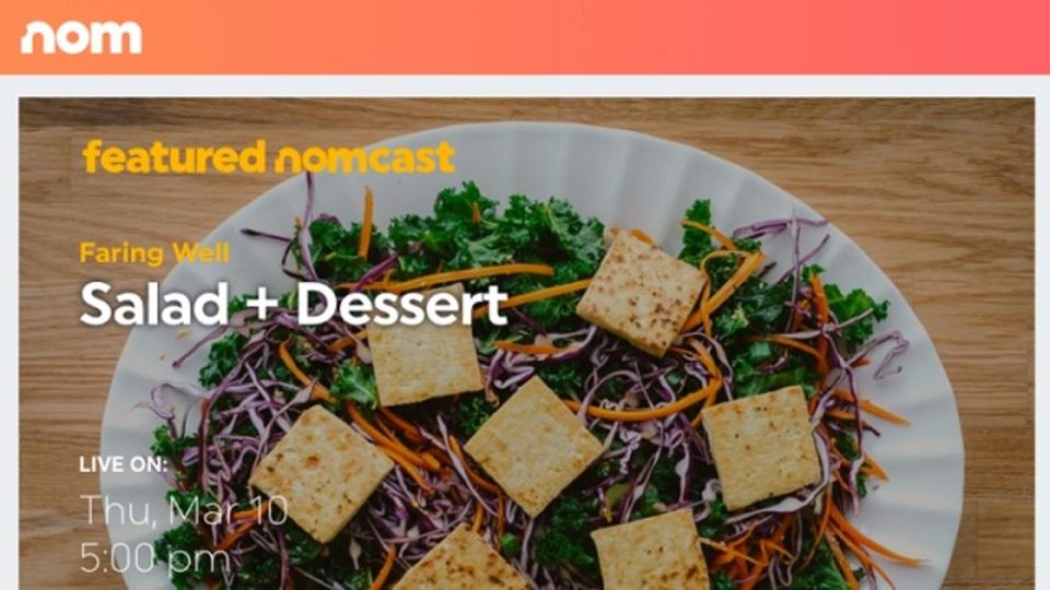 YouTube創業者、料理をライブ配信する新サービス「Nom」をスタート