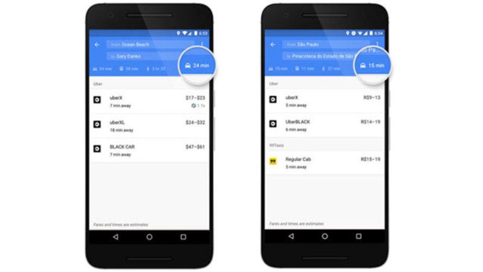 グーグルマップにUber(などのライドシェア)専用タブ登場