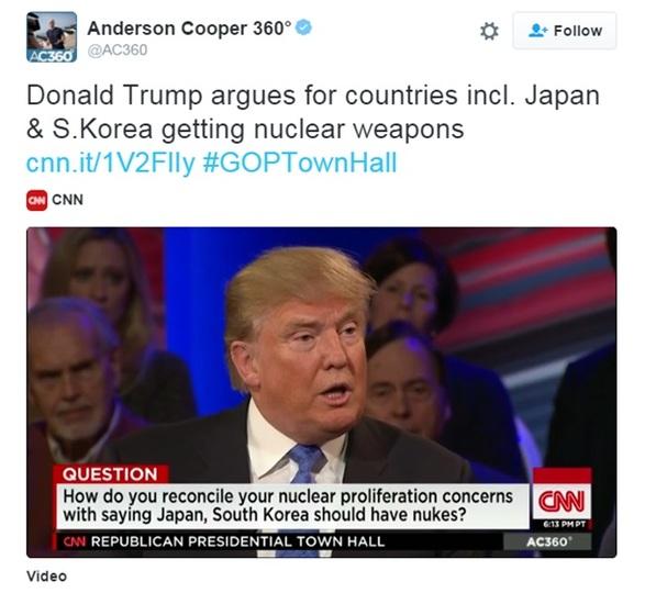 ドナルド・トランプ「日本は原爆自分で作れ。金持ちなんだから」