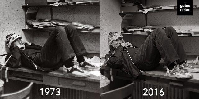 ビル・ゲイツ氏、redditで1973年の自分を再現写真で遊んでみる