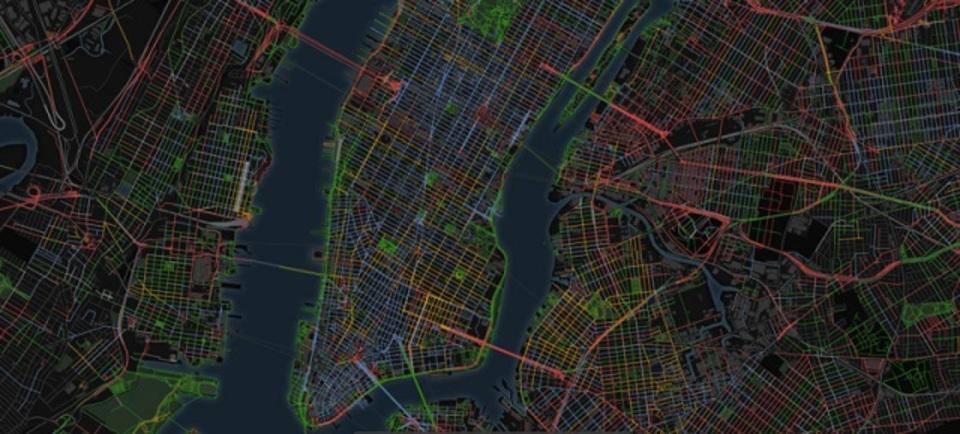 街角から聞こえる音の種類を可視化した地図