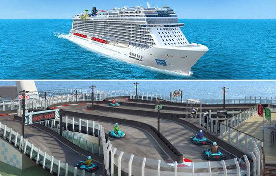 さらに豪華になる豪華客船の世界。なんと船上にサーキット出現