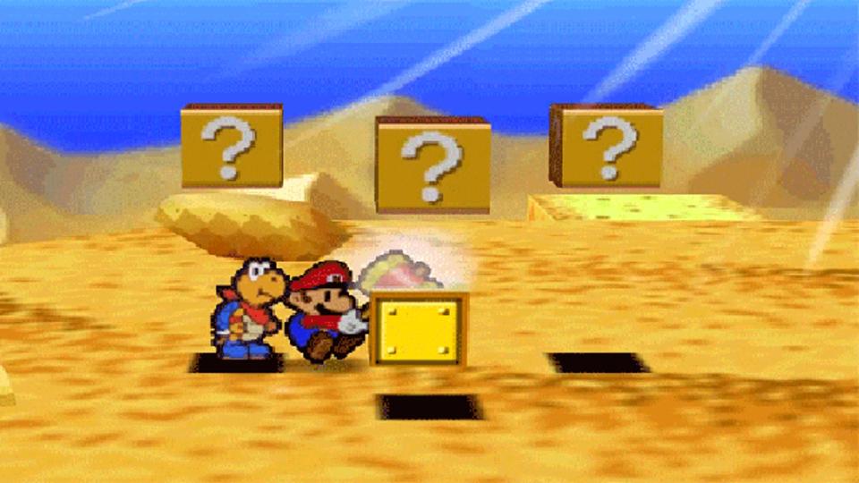任天堂マリオストーリーで同じブロックを連打すると…