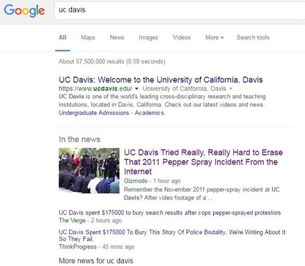 UCデイビスが「催涙スプレー事件」を検索から消すのに2千万円払って発覚、再び急上昇