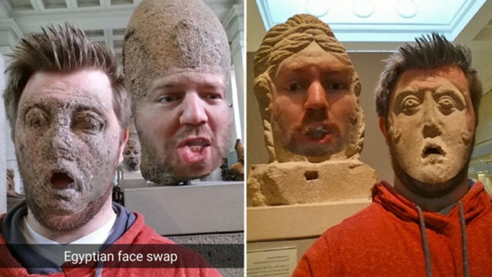 Snapchatはカメラロールと顔交換可能に。古代彫刻と交換する人がおもしろすぎる