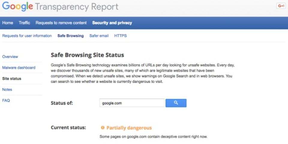 グーグル、google.comを危険なサイトと認定してしまう