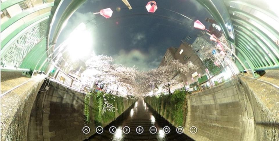 浅倉大介がTHETAで360°全方向撮影した目黒川の夜桜が凄いと話題に