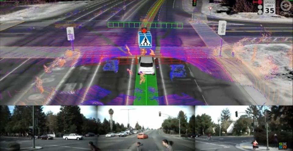 道端でグーグルの自動運転車を見かけた人々の奇妙な行動