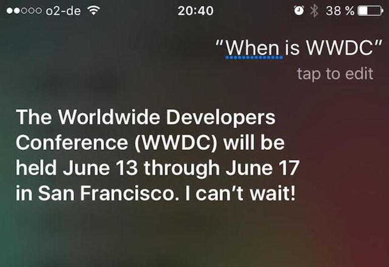 「WWDC 2016は6月13日〜17日に開催」Siriさん語る