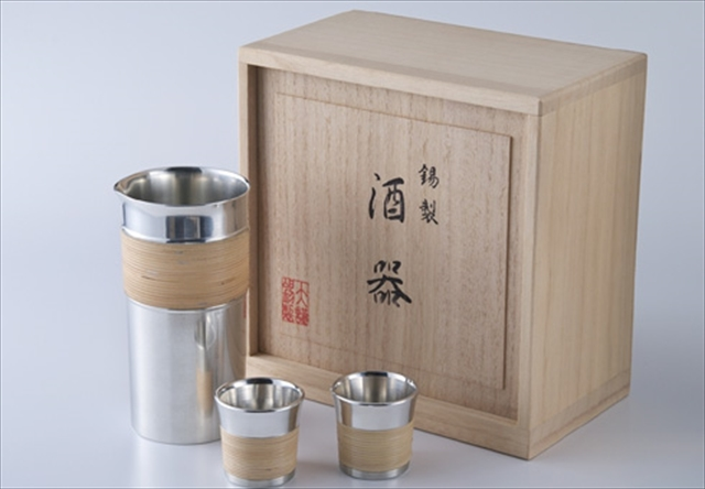大阪浪華錫器 酒瓶セット 籐巻き