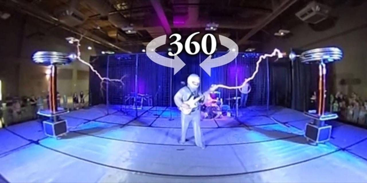 テスラコイル・バンド、アークアタックの放電がクールな360度動画