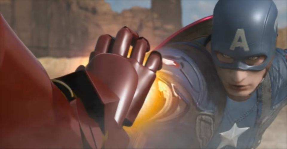 ドラゴンボールのような戦闘が繰り広げられるアイアンマンvsキャプテン・アメリカのCGアニメ