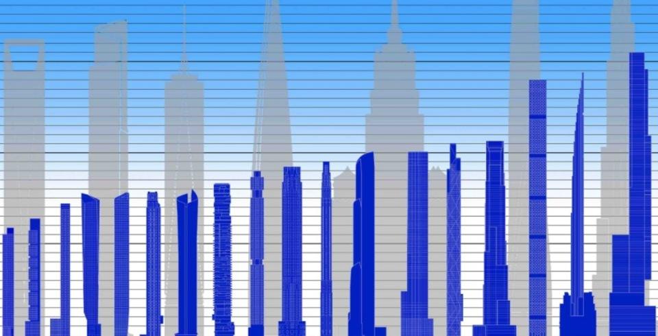 ニューヨークの高層ビルの隣にそびえ立つ、超スレンダーな建物たち