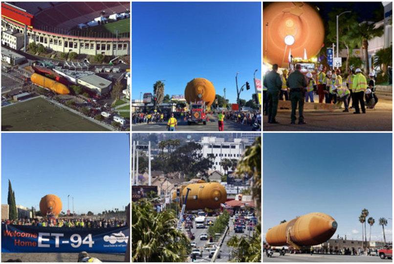 スペースシャトルの燃料タンク=約29トンが、LAの街中を運ばれていく画がシュール