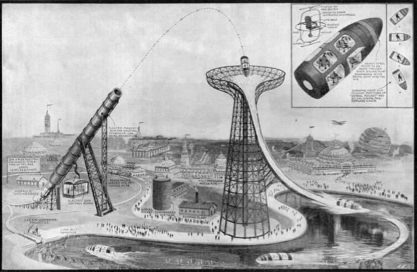こちらの1919年に考案された遊園地アトラクション、ぜひ実現していただきたい