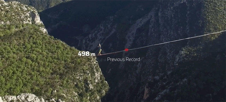 綱渡り世界新記録! 地上600メートル、綱の上を1キロ歩く