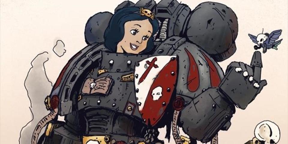 パワーアーマーをまとった戦闘型ディズニー・プリンセスたちのイラスト