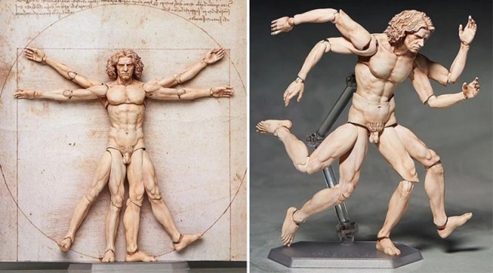 ダ・ヴィンチの「ウィトルウィウス的人体図」のアクションフィギュアが完全にアシュラマン