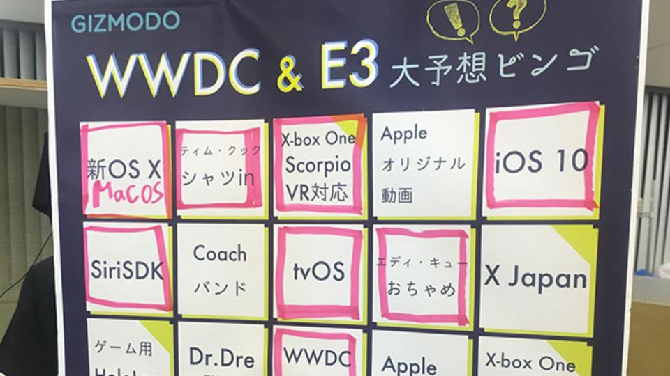 残念無念のギズモード「WWDC & E3ビンゴ大会」。おさらいとお知らせです