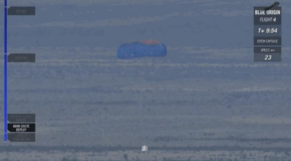 Blue Origin、パラシュートが1つ開かない状態のロケット着陸に成功