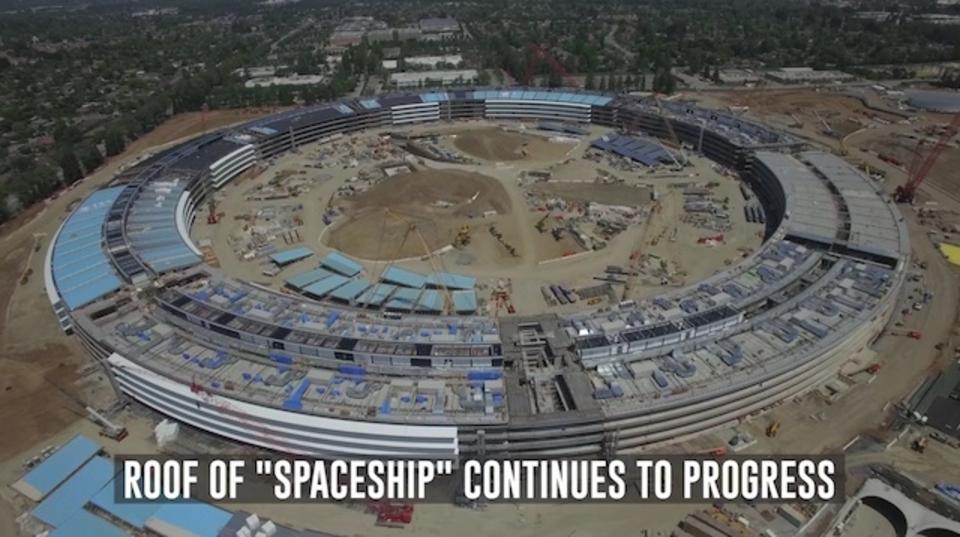 Apple新本社のドローン空撮動画が公開。建物構造はほぼできたかな?