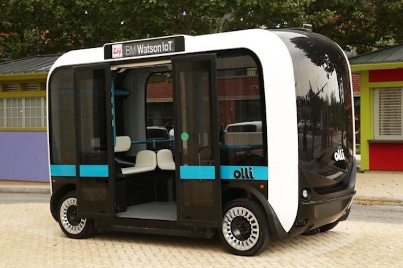 IBMの「Watson」を搭載した自動運転バス「Olli」が登場。しかも車体は3Dプリント