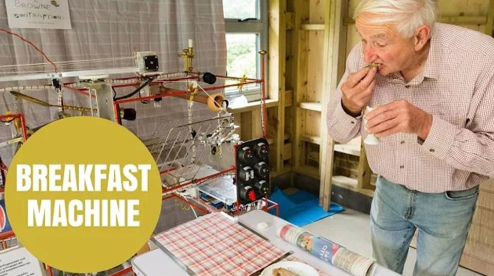 おじいちゃんが組み立てた朝食マシン、まるで映画から飛び出してきたようなワクワク感が満載