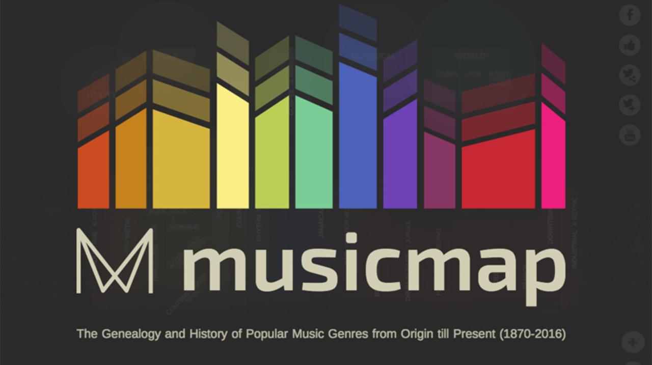 視覚的つながりから知る、音楽ジャンルの変遷マップ「Musicmap」