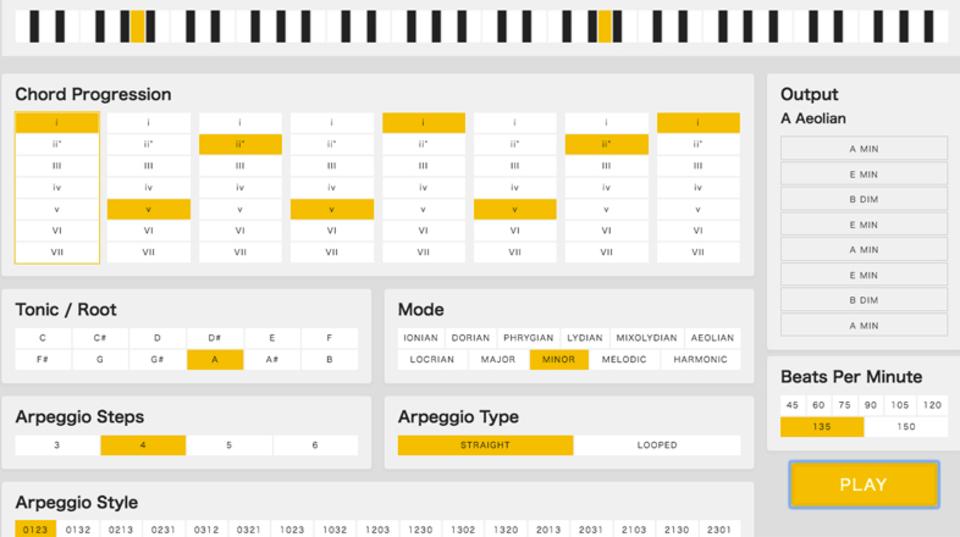 ブラウザinミュージック! アルペジオを生成できるサイトが登場