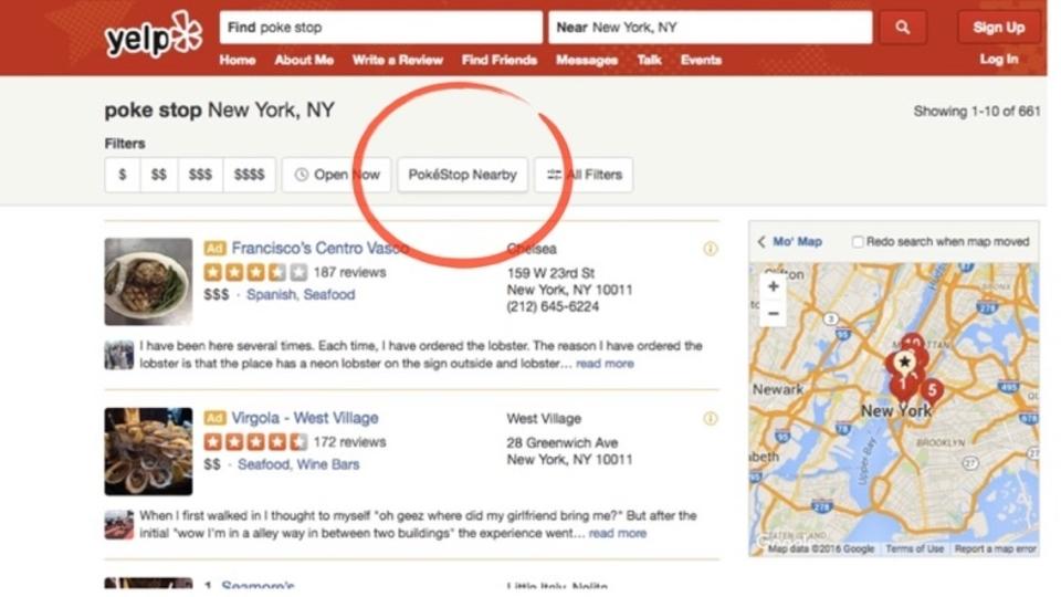 人気レビュー検索サービスのYelp(イェルプ)、ポケモンGO用「ポケストップ」フィルターを追加