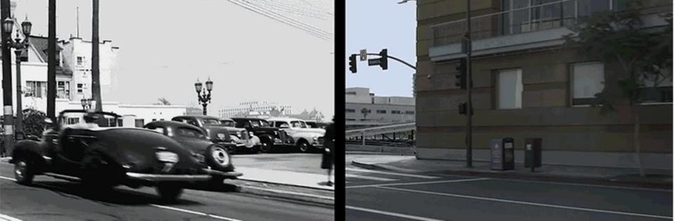 懐かしの名車や建物が。1940年代と現在のロサンゼルスを比較した映像
