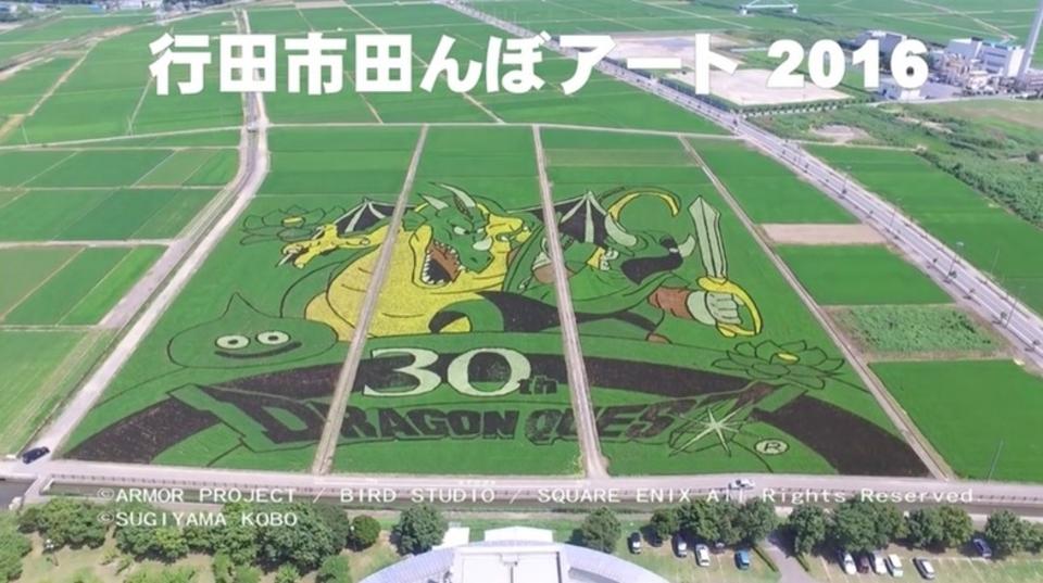 ドローンで見る「ドラクエ30周年田んぼアート」