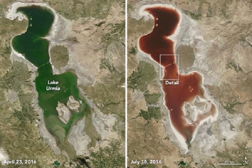 まるで血の海。イランの湖が真っ赤に染まった理由