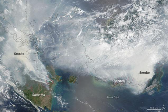 NASAが撮影したインドネシアの山火事の煙