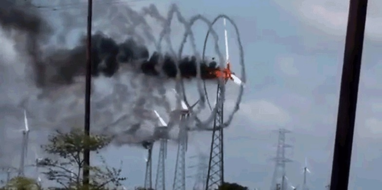 風力発電機が火災になると…